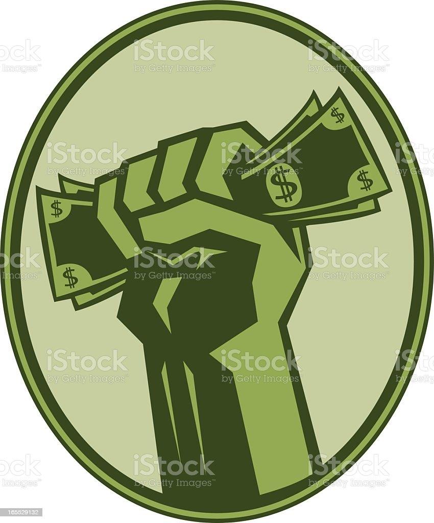 Framed green fist icon grabbing dollar bills royalty-free stock vector art