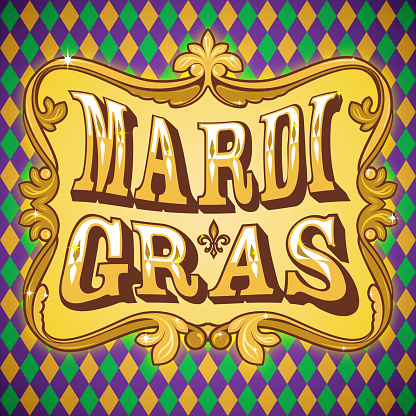 A framed Mardi Gras graphic with a diamond background