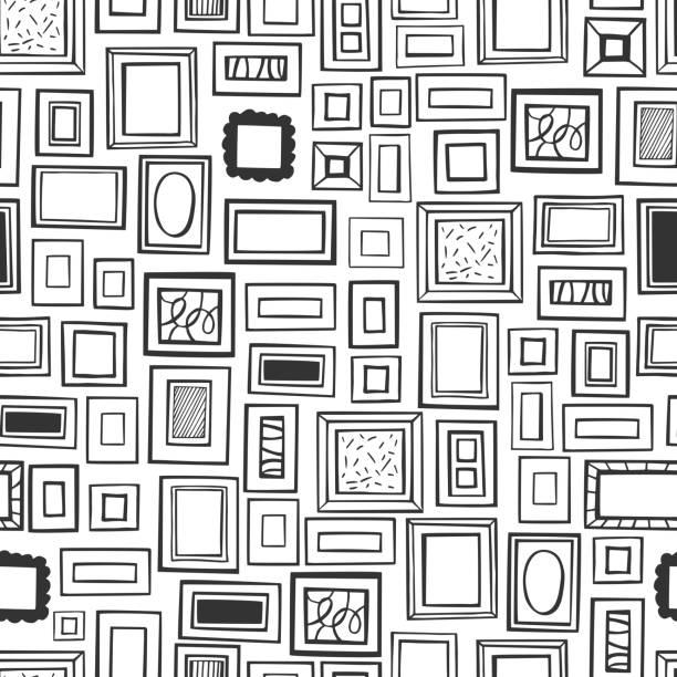 ilustraciones, imágenes clip art, dibujos animados e iconos de stock de pinturas enmarcadas en la pared.  patrón vectorial - conceptos y temas