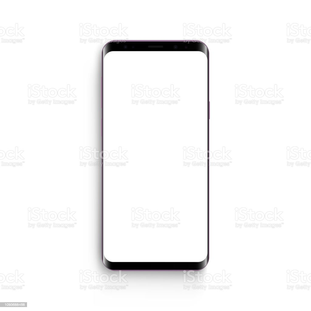 Frameless mobile phone mock up with blank screen isolated vector art illustration