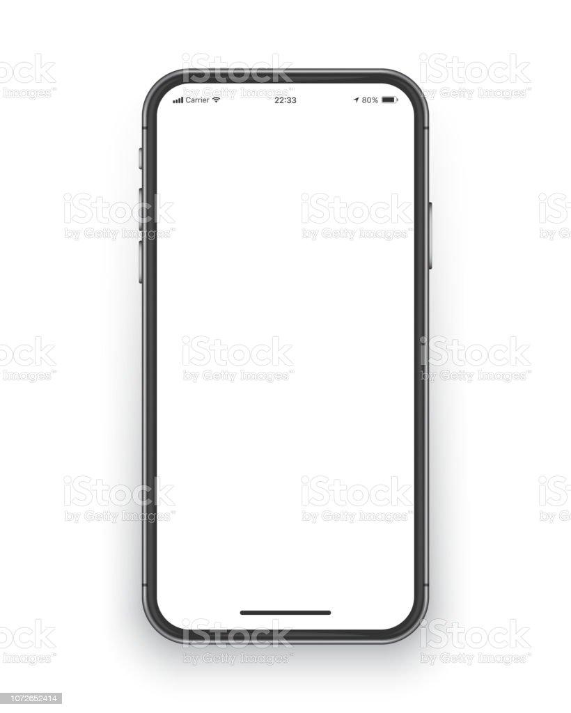 Frameless Smartphone Screen Vector Mockup - Векторная графика www роялти-фри