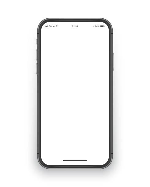 illustrazioni stock, clip art, cartoni animati e icone di tendenza di mockup vettoriale dello schermo dello smartphone senza cornice - smart phone