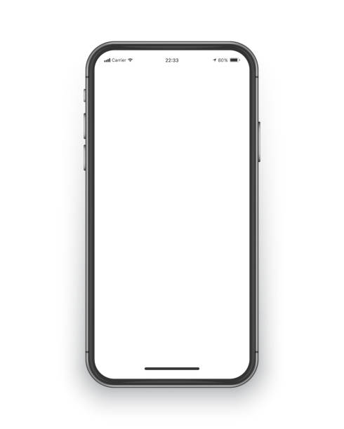 Frameless Smartphone Screen Vector Mockup Photo Realistic Frameless Smartphone Screen Vector Mockup Isolated on White Background for Mobile Application, Web Site, Game, Presentation UI UX Design Template iphone stock illustrations