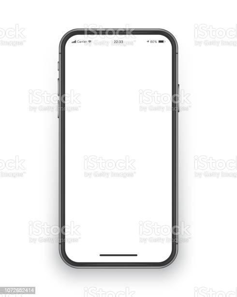 Frameless 스마트폰 화면 벡터 이랑 3차원 형태에 대한 스톡 벡터 아트 및 기타 이미지