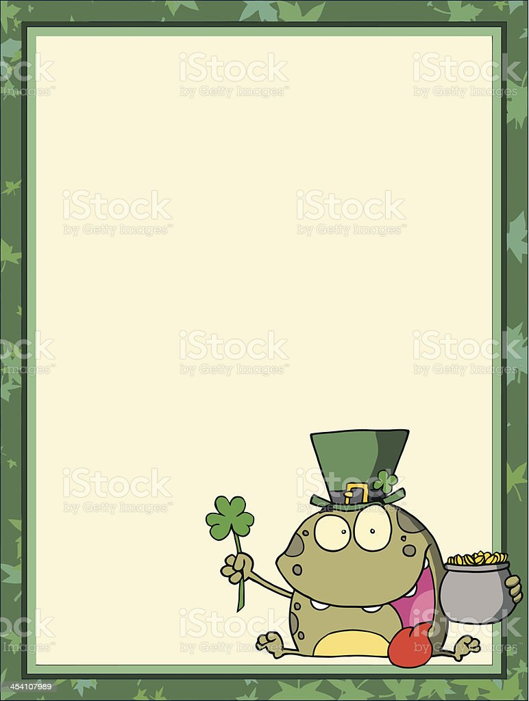 frames and borders with saint patricks day frog stock vector art