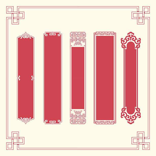 frames and plaques of chinese style - architecture borders stock illustrations