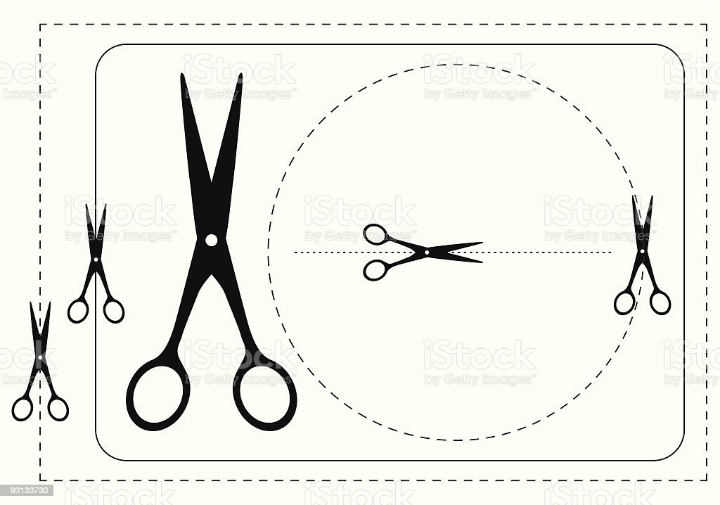 Frames and  scissors. royalty-free stock vector art