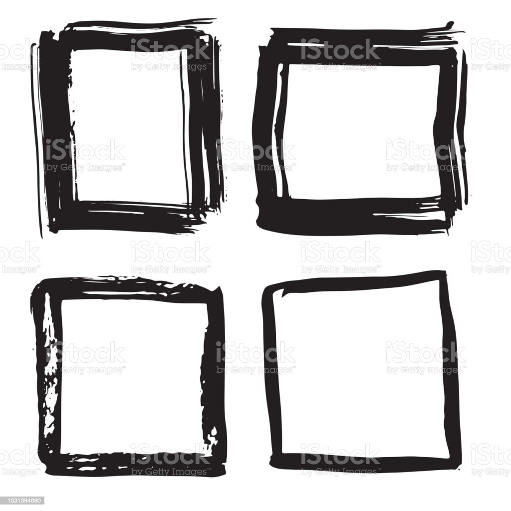 Frames And Text Boxes Grunge Textured Hand Drawn Elements Set Vector ...