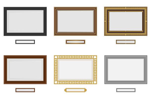 写真や画像のフレーム。ベクトルの木枠を設定。壁の写真フレーム ベクトル。ビンテージ セット - 美術館点のイラスト素材/クリップアート素材/マンガ素材/アイコン素材