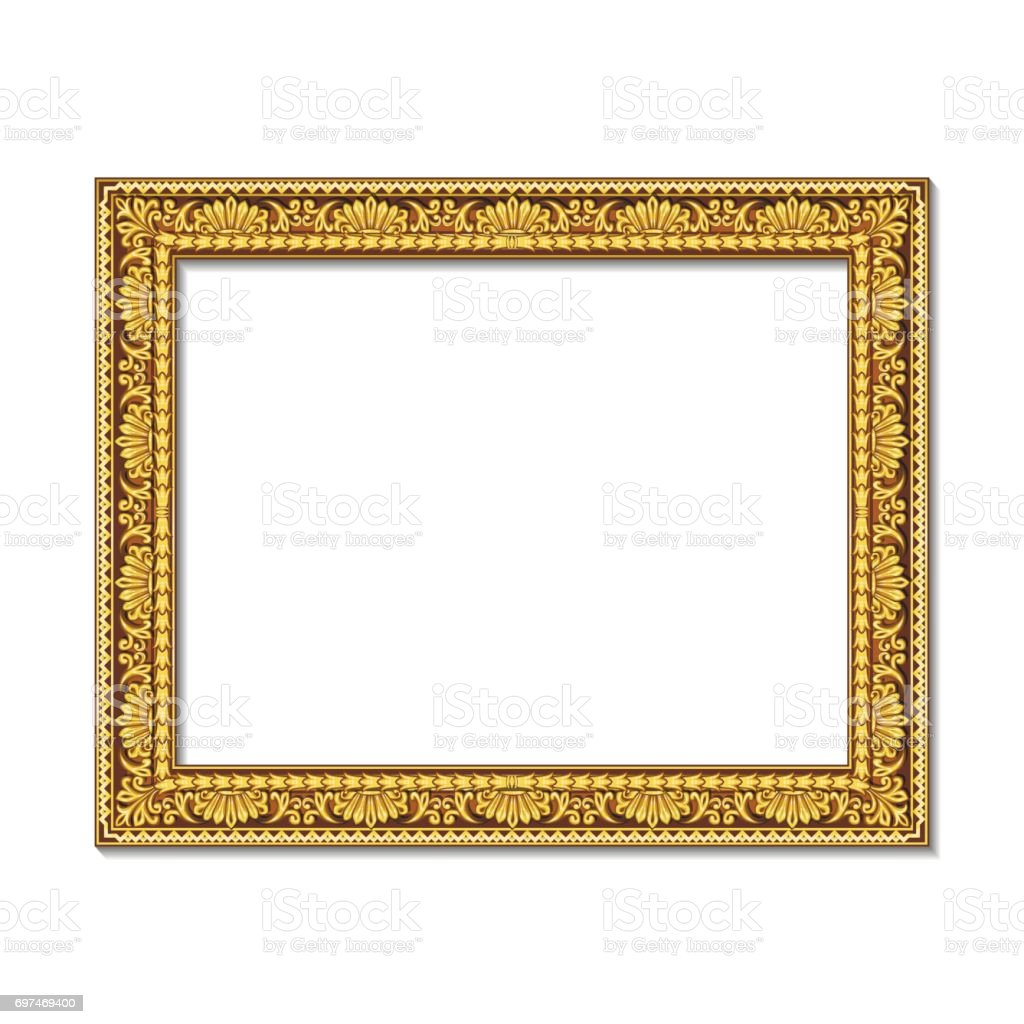 frames gold color with shadow vector art illustration
