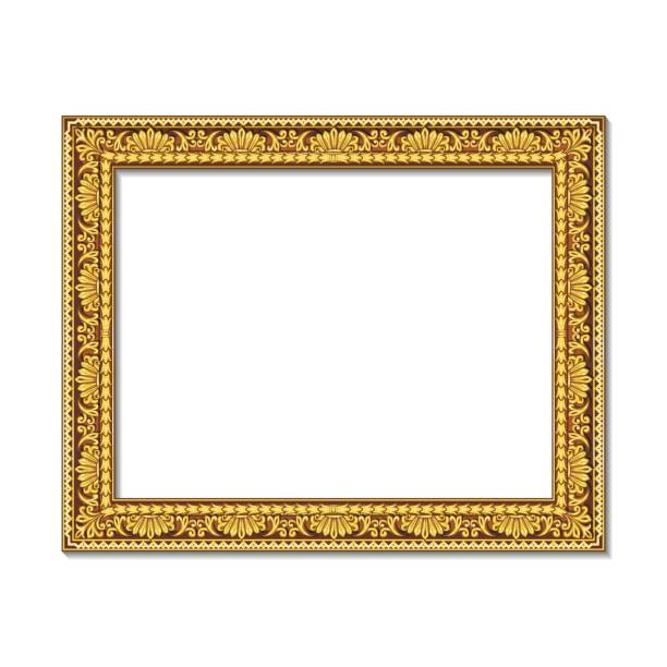 frames gold color with shadow - picture frame borders stock illustrations, clip art, cartoons, & icons