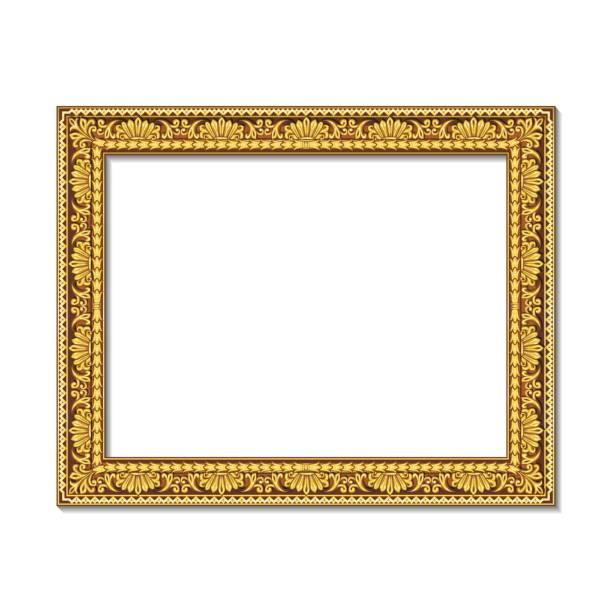 ilustraciones, imágenes clip art, dibujos animados e iconos de stock de marcos color oro con sombra - bordes de marcos de fotografías