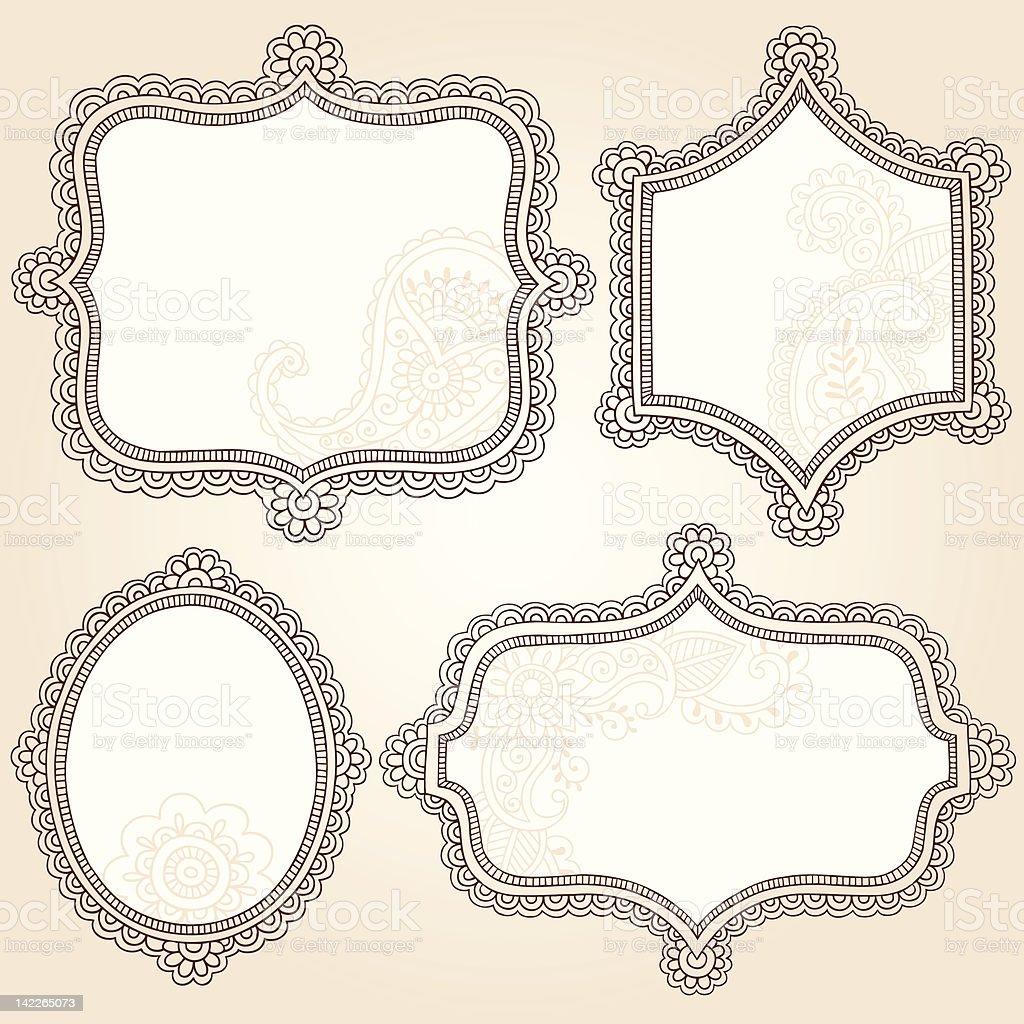 Frames Henna Mehndi Tattoo Doodles Vector Elements Stock Vector Art ...