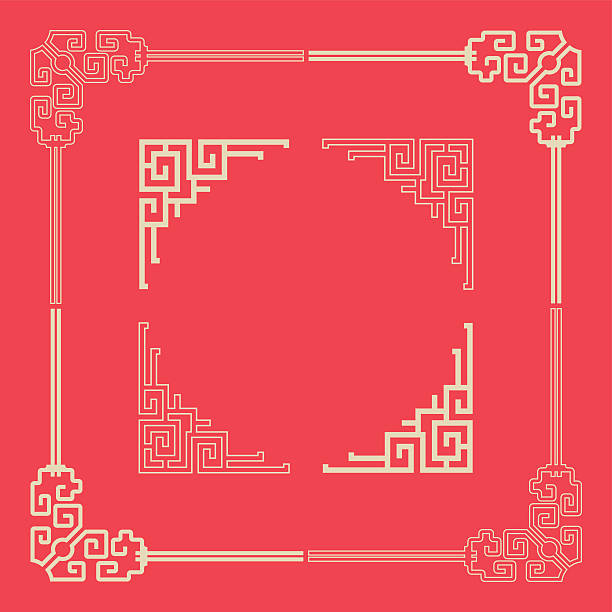 frames of chinese style - architecture borders stock illustrations
