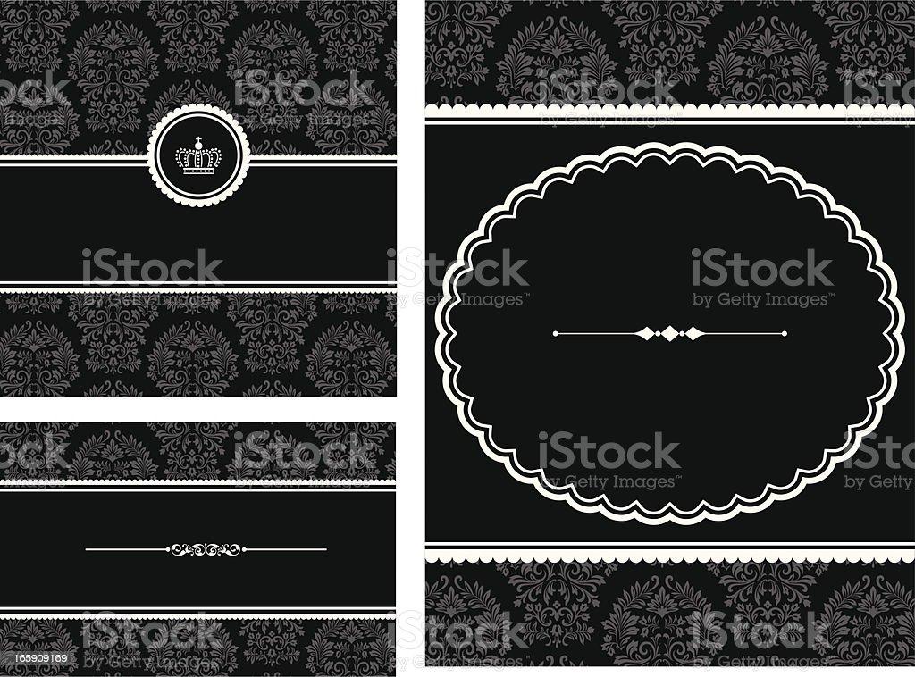 Frames on Damask Background royalty-free stock vector art