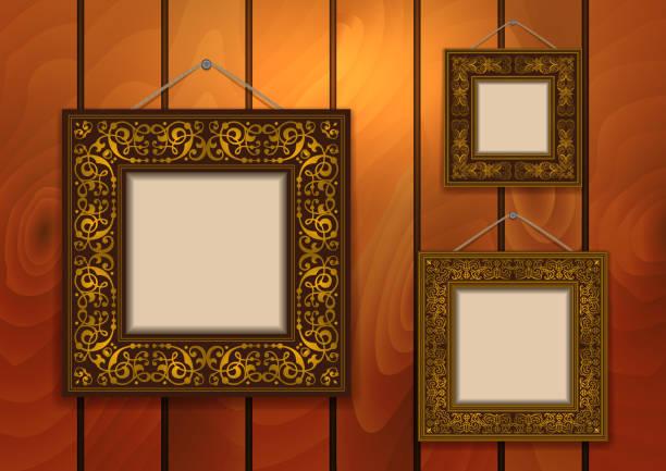 frames on wooden background - nagelspitze stock-grafiken, -clipart, -cartoons und -symbole