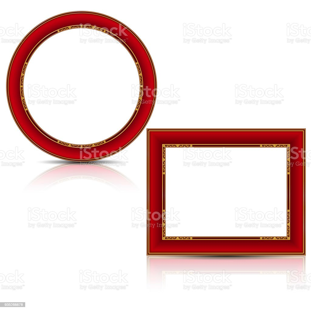 Frames Red And Gold Color With Shadow Stock Vector Art More Images