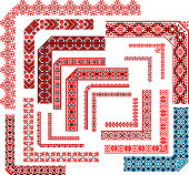 Set of editable ethnic patterns for embroidery stitch. Corners, frames, seamless borders.