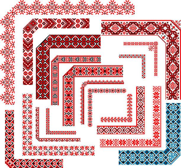 刺繍ステッチのコーナー パターンのフレーム - を設定します。 - ウクライナ点のイラスト素材/クリップアート素材/マンガ素材/アイコン素材
