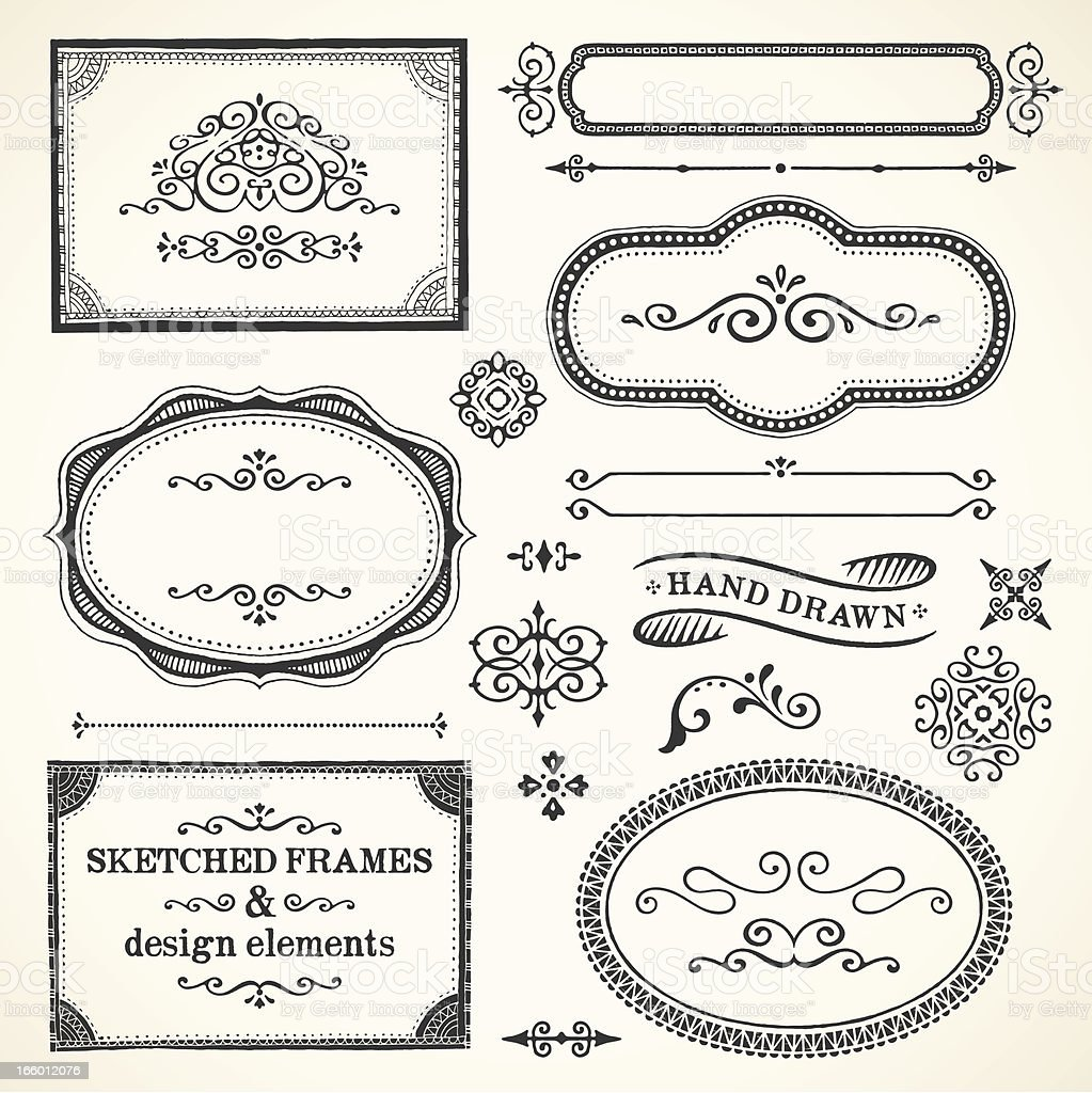 : Frames Sketched royalty-free stock vector art