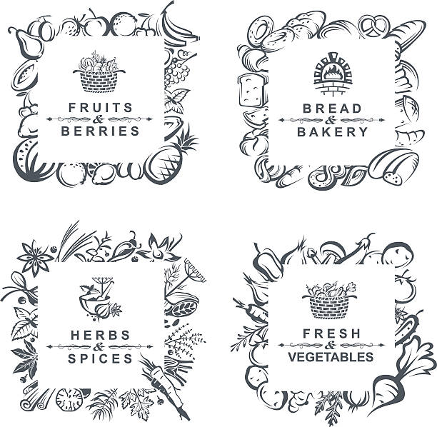 frames with fruits, vegetables, bakery and spices monochrome set of frames with fruits, vegetables, bakery and spices bread patterns stock illustrations