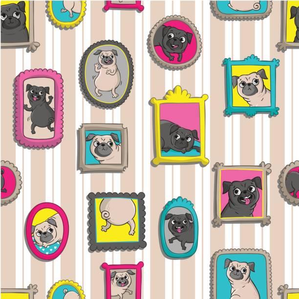 rahmen mit porträts von pugs. nahtlose muster. - hundeleckerli stock-grafiken, -clipart, -cartoons und -symbole