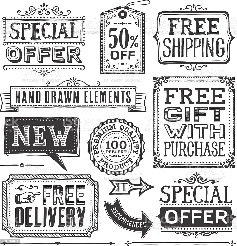 Frames,Banners and Labels Hand Drawn royalty-free stock vector art