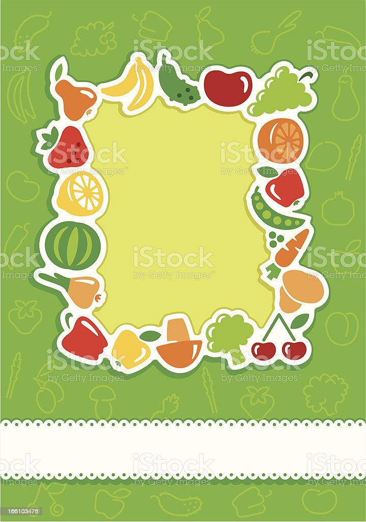 Framework from icons of vegetables and fruit royalty-free stock vector art