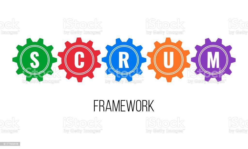 SCRUM framework, gears concept vector art illustration