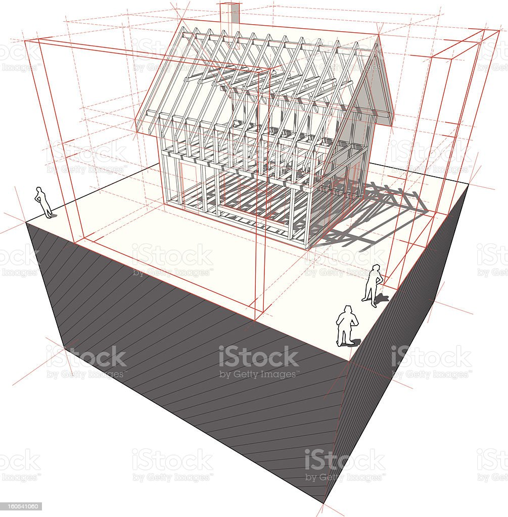 Framework house with dimensions diagram royalty-free stock vector art