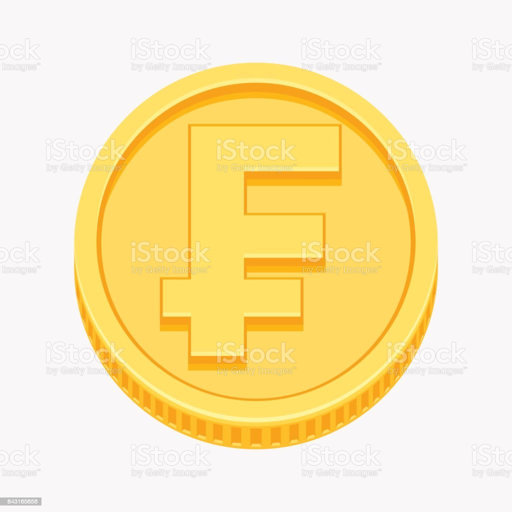 Franc currency symbol on gold coin vector art illustration