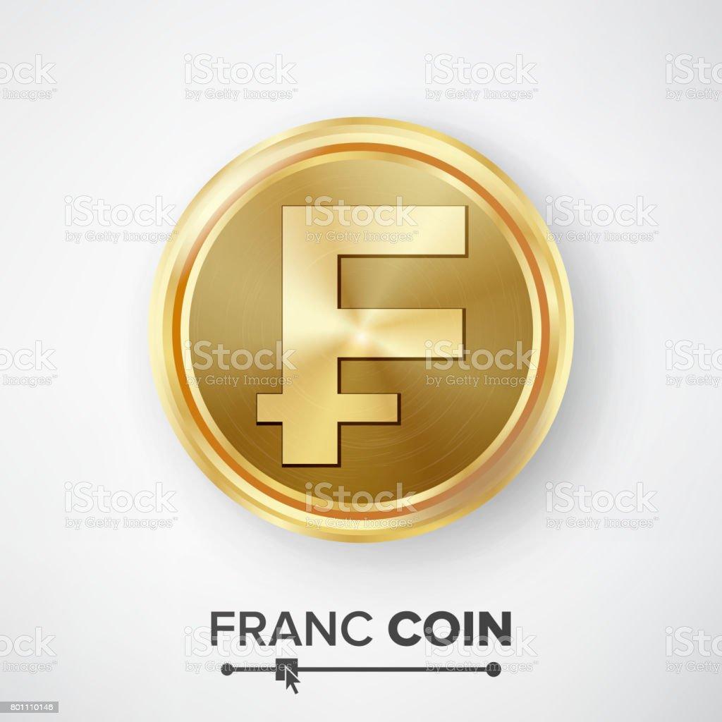 Franc Gold Coin Vector. Realistic Money Sign Illustration vector art illustration