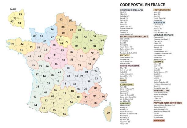 francja 2-cyfrowy kod pocztowy kody pocztowe mapa wektorowa - francja stock illustrations