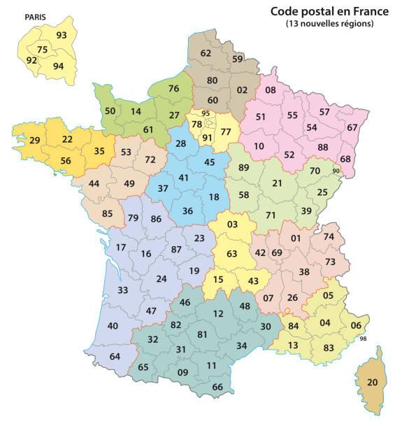 francja 2-cyfrowa mapa kodów pocztowych 2017 - francja stock illustrations