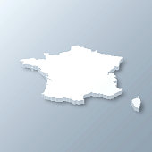 3D map of France isolated on a blank and gray background, with a dropshadow. Vector Illustration (EPS10, well layered and grouped). Easy to edit, manipulate, resize or colorize.