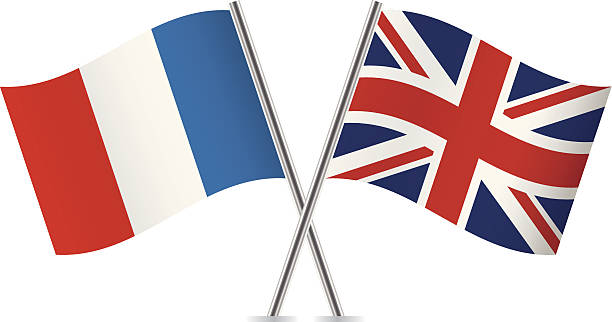 France and British flags. Vector. vector art illustration