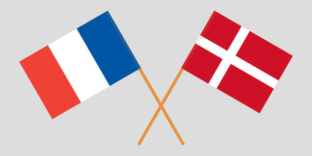 France and Denmark. Crossed French and Danish flags. Official colors. Correct proportion. Vector vector art illustration