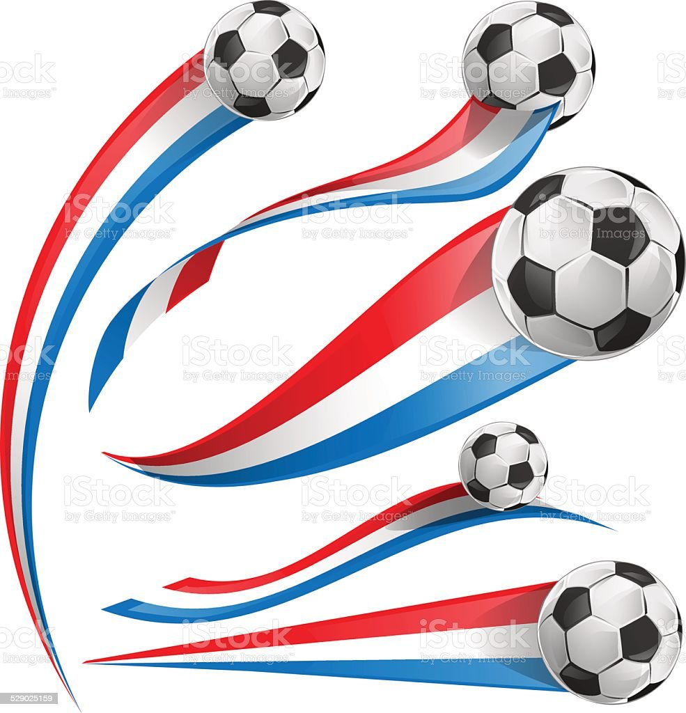 france and Netherlands flag set with soccer ball vector art illustration