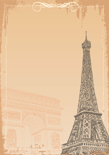 A background with wiffel tower and Arc de triomphe in retro style.