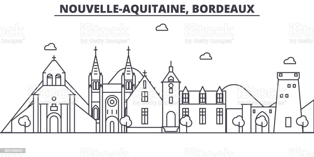 france bordeaux architecture line skyline illustration linear vector cityscape with famous. Black Bedroom Furniture Sets. Home Design Ideas