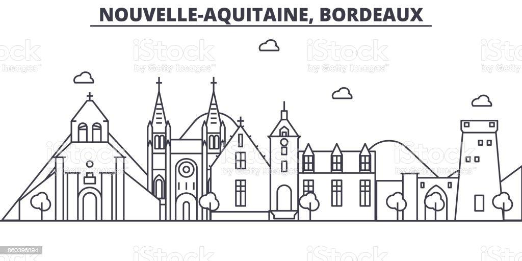 France, illustration de skyline Bordeaux architecture ligne. Cityscape vecteur linéaire avec les monuments célèbres, les sites de la ville, les icônes du design. Paysage avec traits modifiables - Illustration vectorielle
