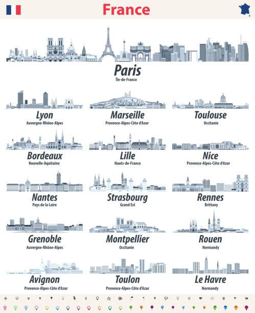 illustrations, cliparts, dessins animés et icônes de france villes skylines icônes isolées dans la palette de couleurs bleues douces. panneaux de navigation et de localisation. vecteur - nantes