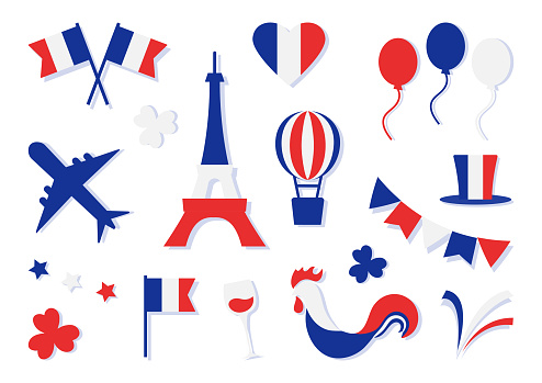 France collection. Bastille day. Blue, white and red national colors. Flags, heart, stars, Eiffel Tower, hat, clovers, glass of wine, balloon, airplane, cock, firework. Vector