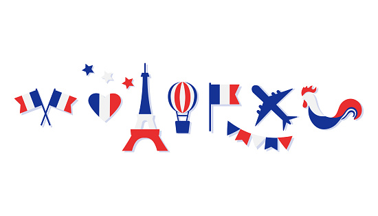 France collection. Blue, white and red national colors. Flags, heart, stars, Eiffel Tower, balloon, airplane, cock. Vector