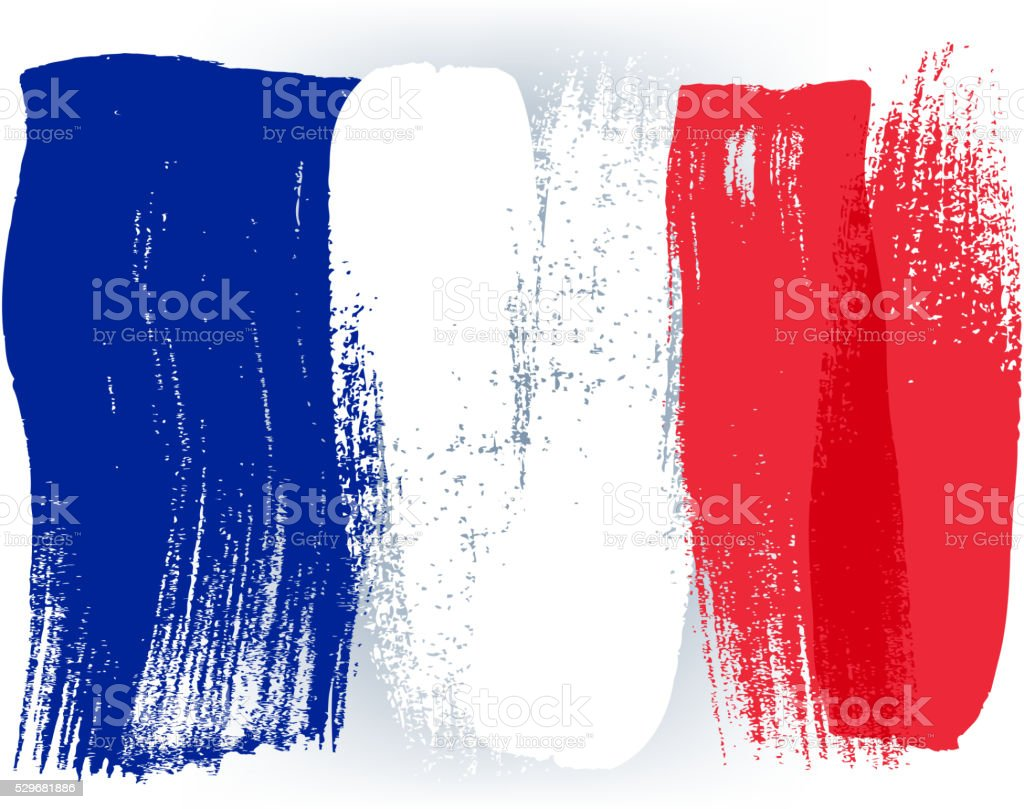 Francia bandera pintada con pinceladas coloridas - ilustración de arte vectorial