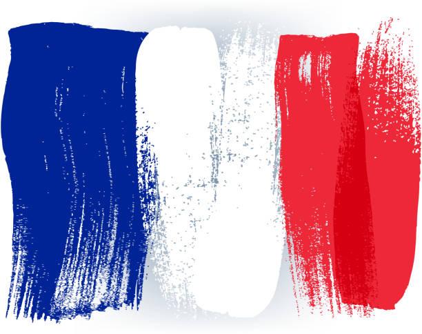 Frankreich bunte mit Pinselstrichen Gemalte Flagge – Vektorgrafik