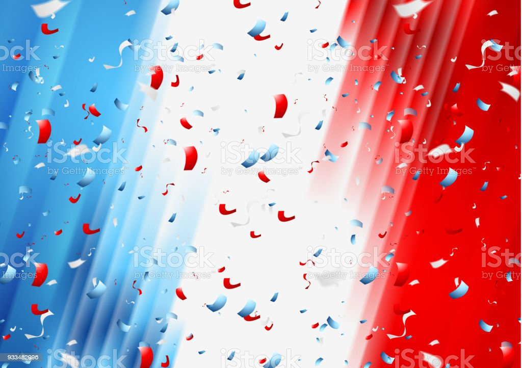 Fond de France de confettis. Fête nationale Français - Illustration vectorielle