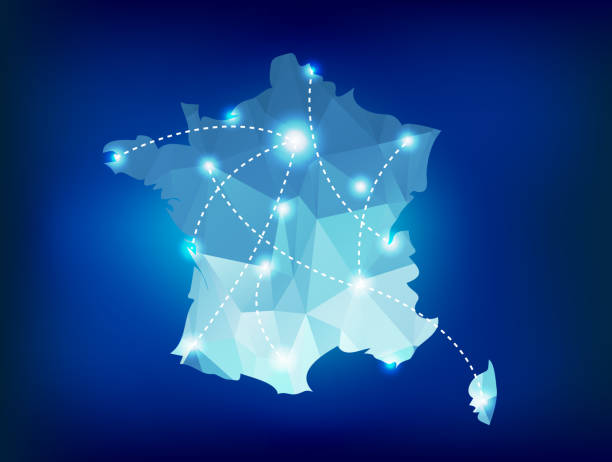 France country map polygonal with spot lights places vector art illustration