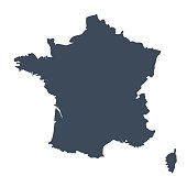 A graphic illustrated vector image showing the outline of the country france. The outline of the country is filled with a dark navy blue colour and is on a plain white background. The border of the country is a detailed path.