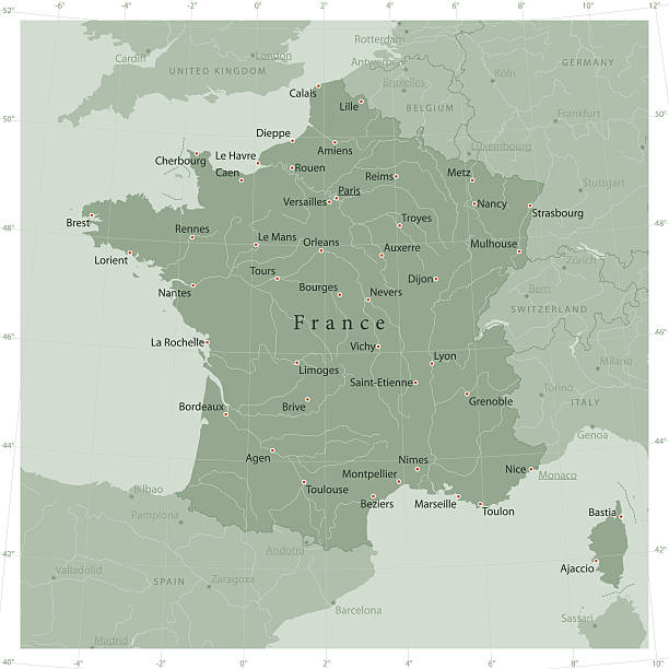 France Country Vector Map Olive Green - Illustration vectorielle
